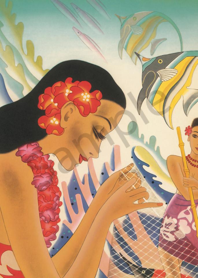 Retro Hawaiian Art | Fishing Net by Frank MacIntosh