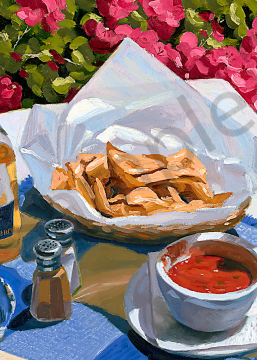 Beer Nachos and Salsa painting