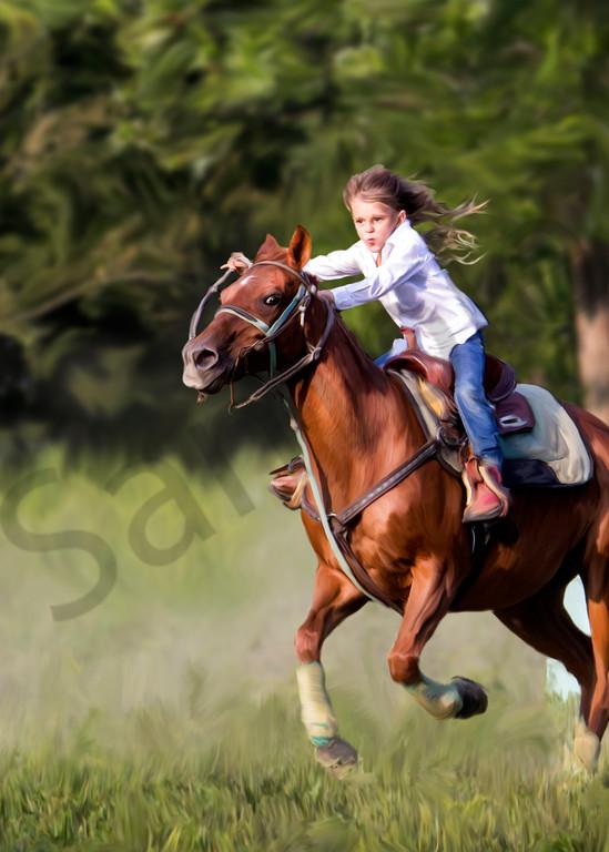 a girl barrel racing her horse, sugar. a digital art painting.