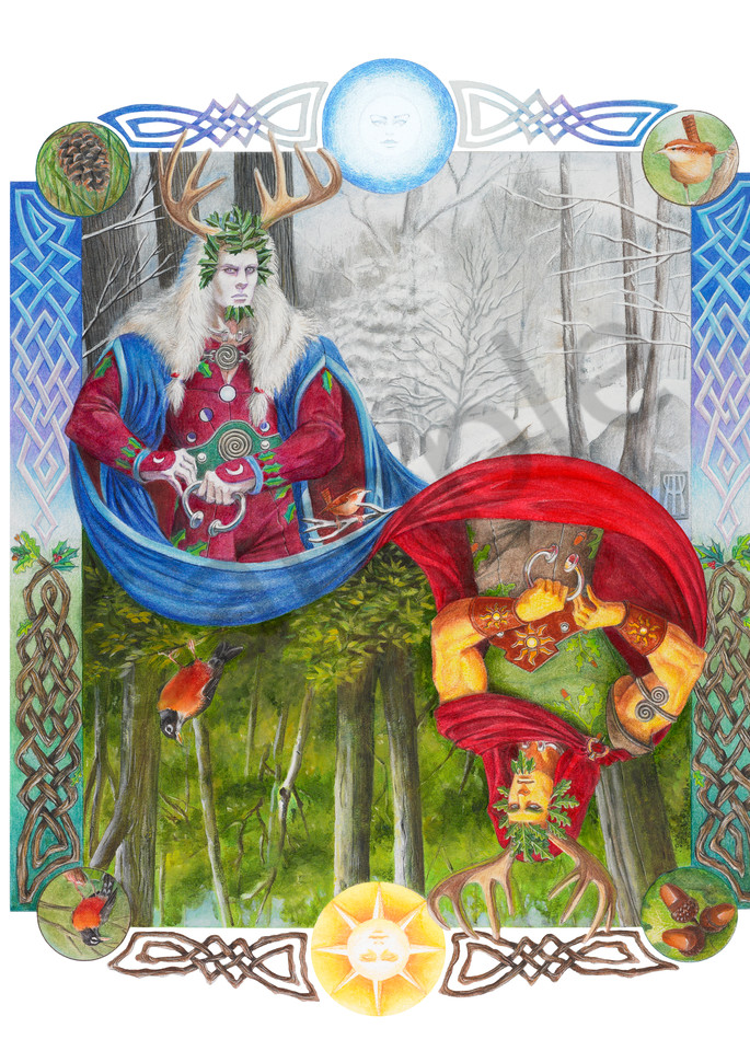 Pagan illustration of the Holly King and Oak King