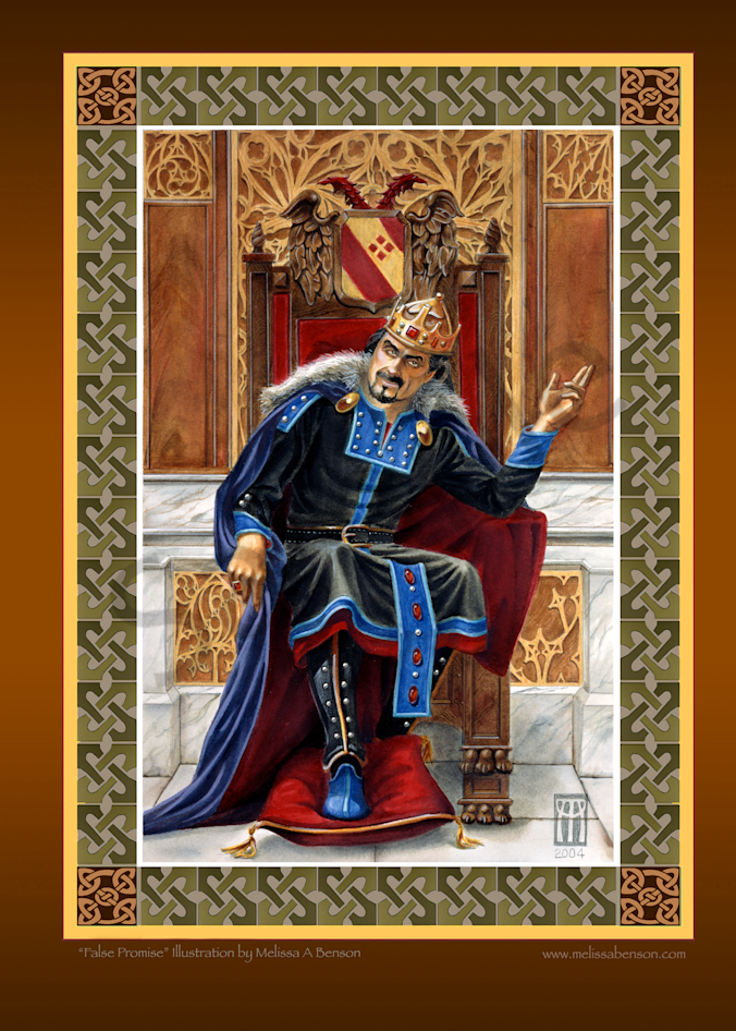 Role playing card game art of King Mark titled False Promise. This beautiful print has a digital Celtic border.