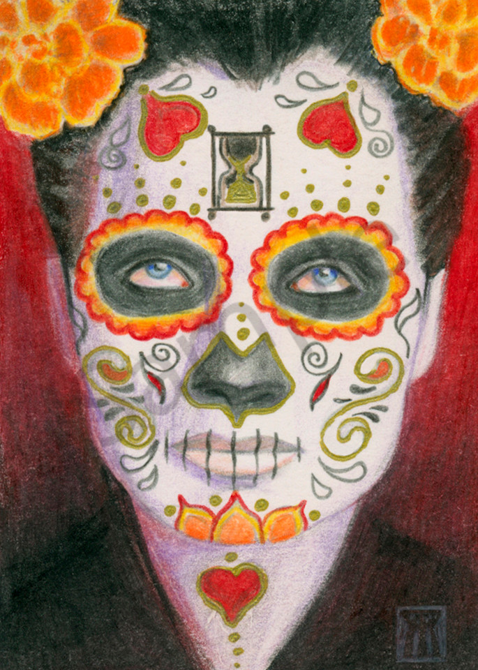 Day of the Dead Face with Hearts