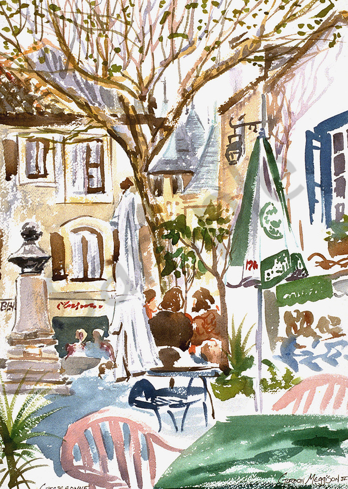 Carcassone Cafe | Watercolor Landscapes | Gordon Meggison IV