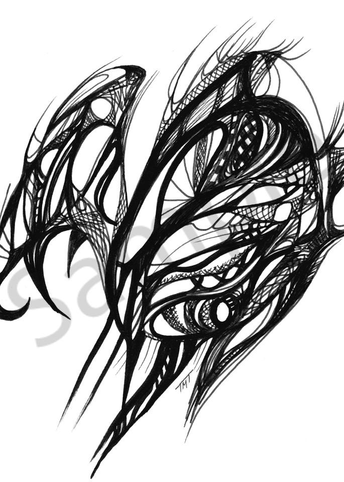 Unique Abstract Ink Art Veering Away