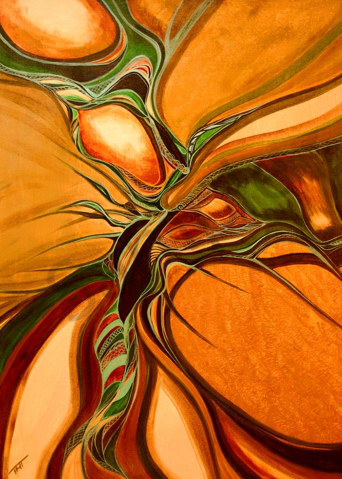 orange abstract, ripple in space, metis art