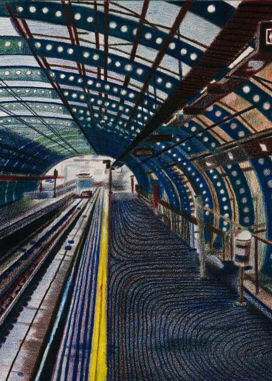 A European Subway Platform Drawing For Sale