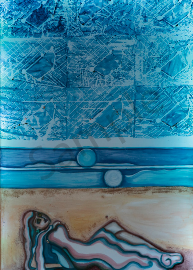 Shipwreck Moonlight Woman on the Beach Print