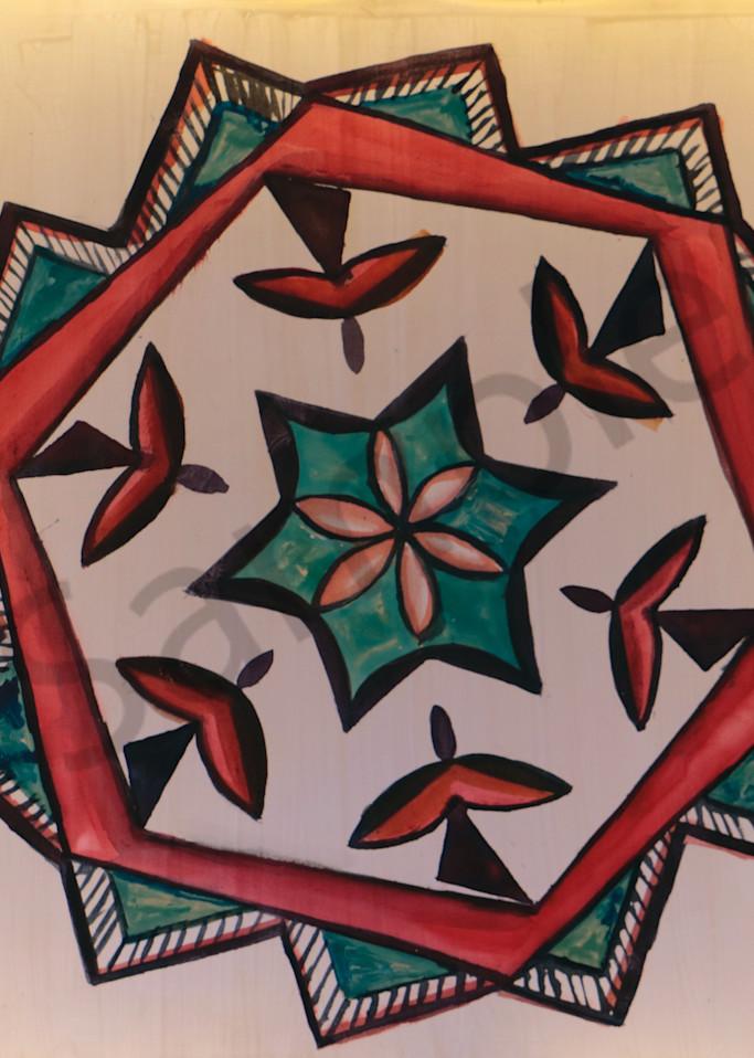 Pueblo Pottery Water Bird Ceramic Geometry Print