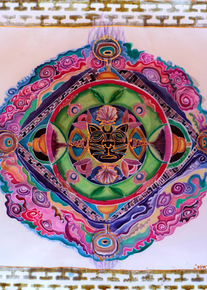 Jaguar Rose Mandala Print for Shamanic Ceremony and Meditation