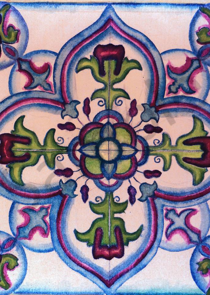 Spanish Tile Azulejo Ceramic Motif Print