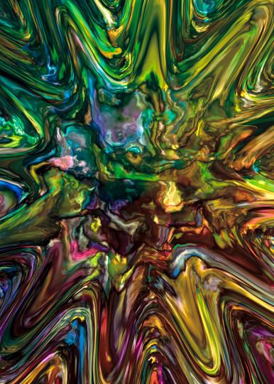 Mixed Up digital art splashed liquid metal mutli-colored by Cheri Freund