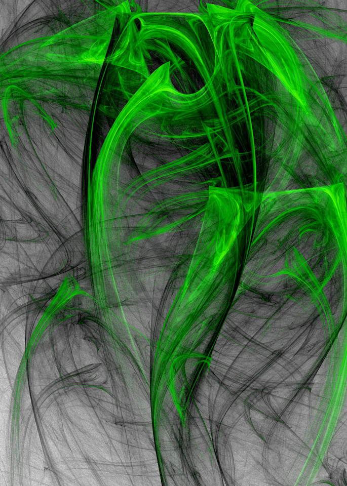 Displaced Vase digital art abstract green and black spilling paint Picasso style by Cheri Freund