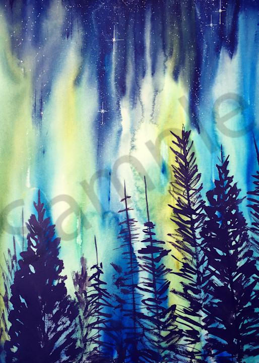 Night Forest Aurora Borealis Art | Amy Tigner Art