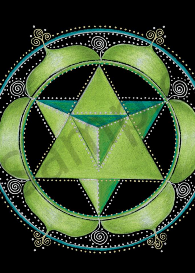 Heart chakra mandala art by Laural Virtues Wauters.