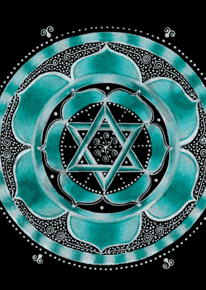 Throat chakra mandala art by Laural Virtues Wauters.