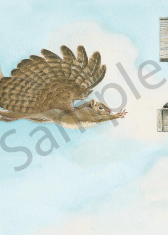 """When Squirrels Dream"" humorous illustration by fantasy artist Melissa A Benson"