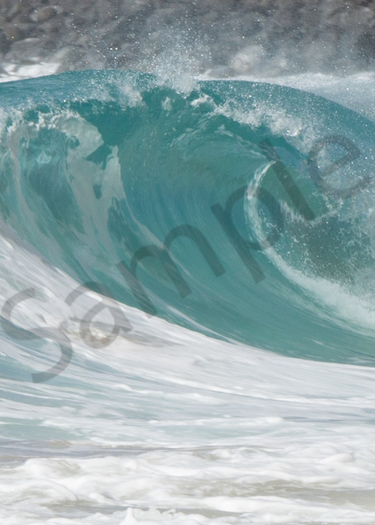 Curling Aqua Wave in Hawaii Photo for Sale