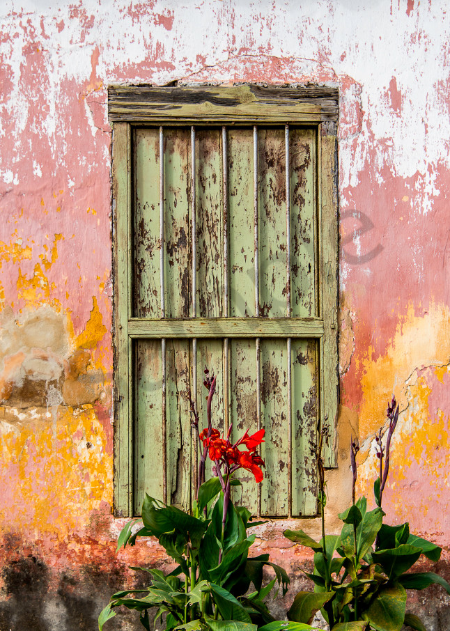 Photograph art print of historic colonial window and wall, Cuba