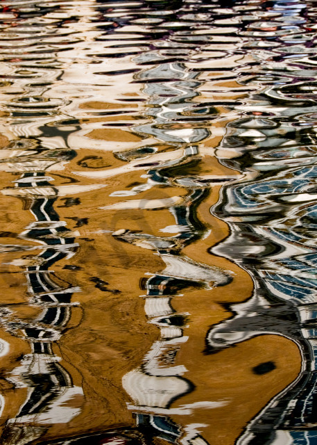 Fine art photograph of abstract reflections on the Saint Martin Canal, Paris