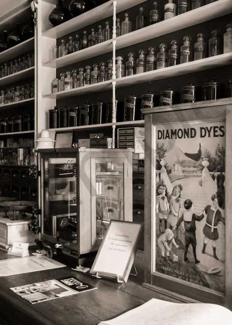 Black & white architectural photograph of an antique apothecary store in Niagara-On-The-Lake, for sale as fine art by Sage & Balm