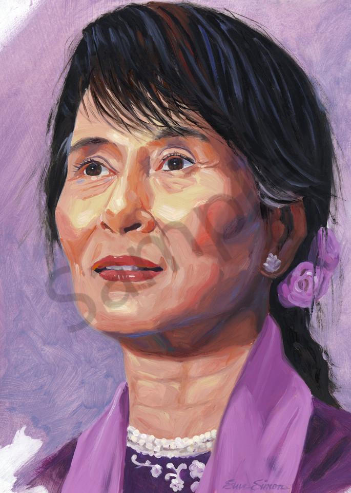 Aung San Suu Kyi Portrait Painting by Steve Simon