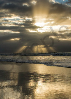 Sunshine rays coming through the clouds in panorama art photograph print