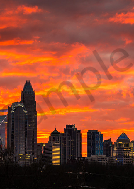 Dramatic Charlotte Skyline Photograph for Sale as Fine Art