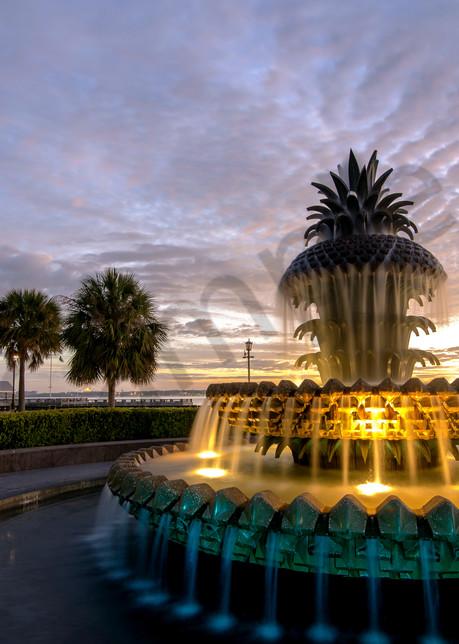 Pineapple Fountain Sunrise Photograph for Sale as Fine Art