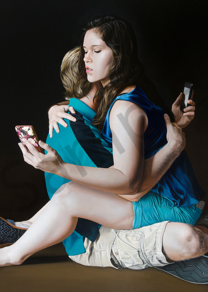 Intimacy with cell phones print   Kevin Grass Fine Art