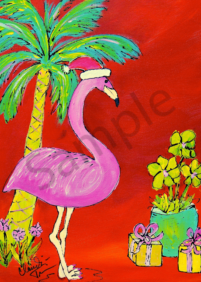Christmas Flamingo - a print of Claudia True's original acrylic painting.