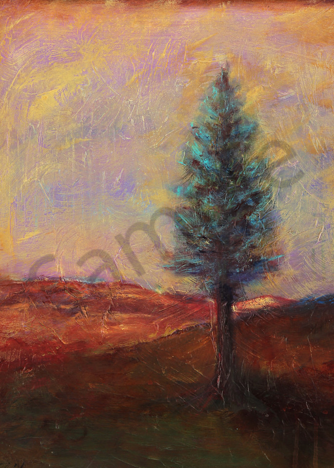 Twilight Meditation is an acrylic painted in muted evening colors. Art by Susan Kraft