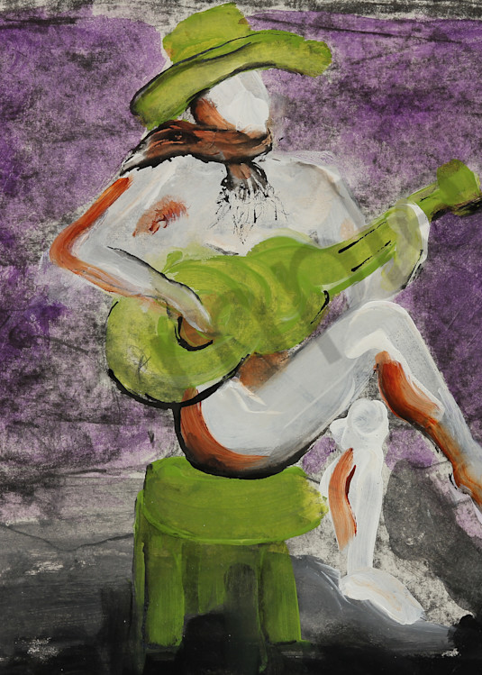 Singing Cowgirl is a painting in acrylic, ink, & graphite. Art by Susan Kraft