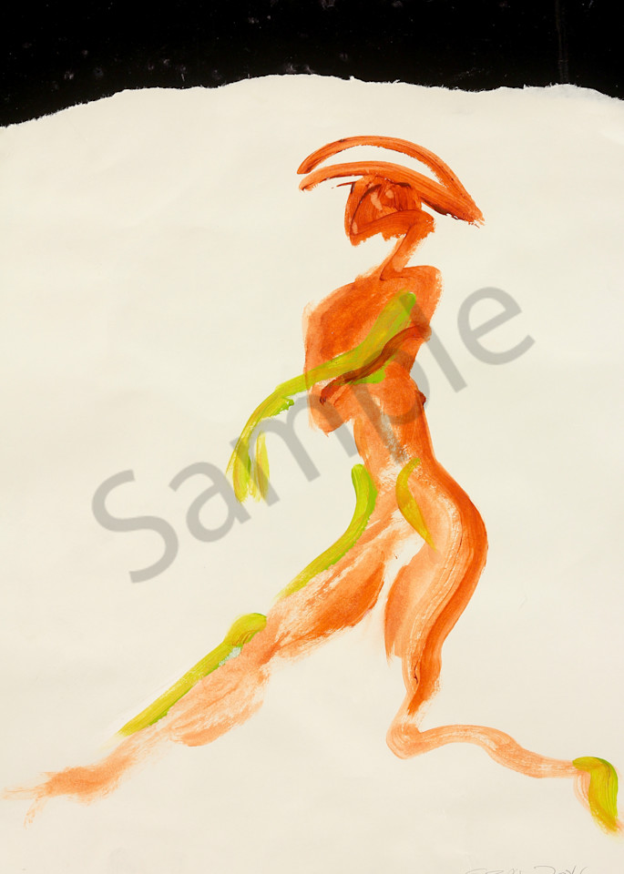 Dancer With Hat is an acrylic painting. Art by Susan Kraft