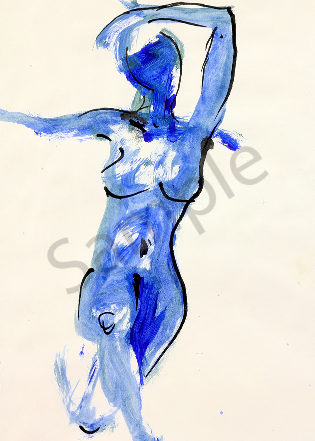 Good To Be Alive is an acrylic & ink painting in blue. Art by Susan Kraft