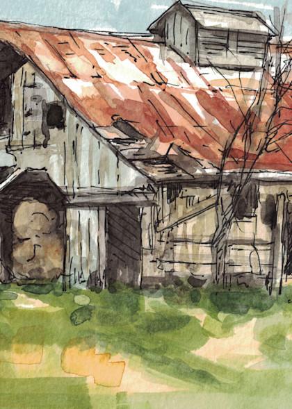 Hay Barn Sketch Art | Geoffrey Butz Art & Design Inc