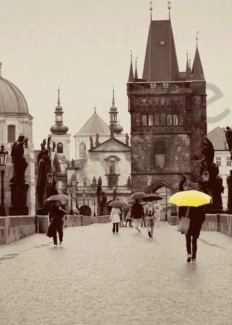Lady with a Yellow Umbrella on Charles Bridge Prague photograph by Ivy Ho for sale as fine art