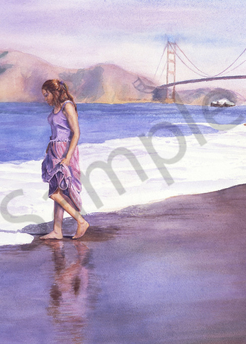 Painting of a beautiful young woman at Baker Beach with the Golden Gate Bridge in the background by Susan Kraft