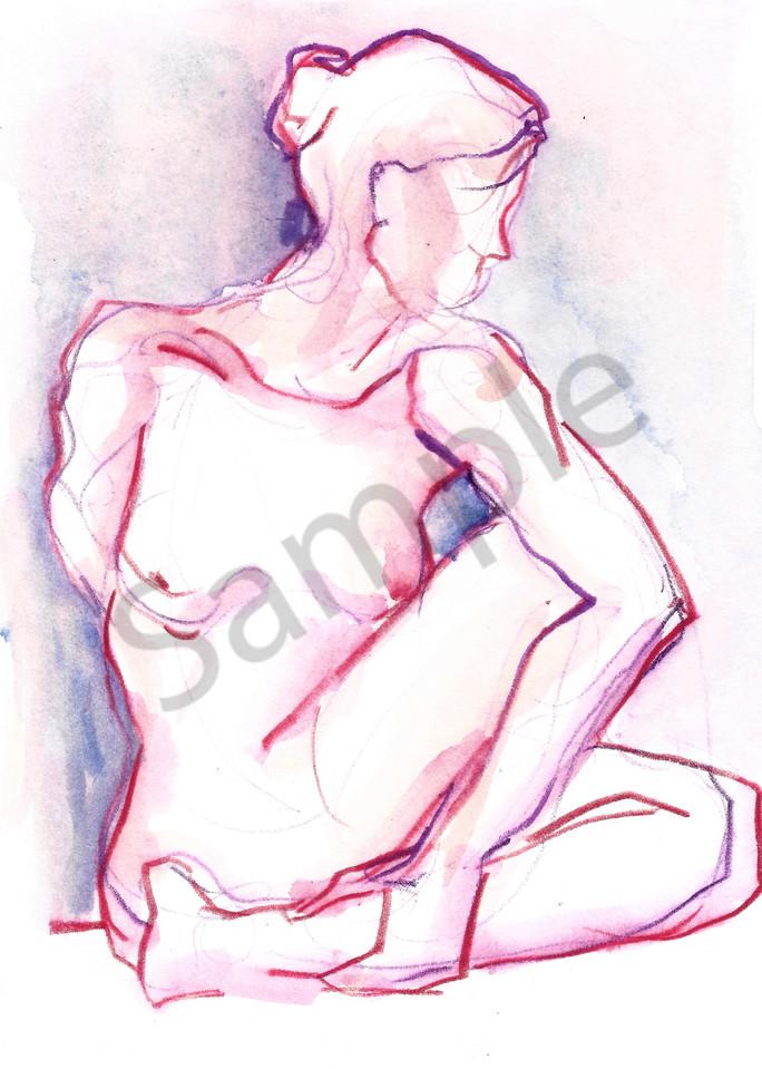 Yoga Twist Watercolor Figure Painting