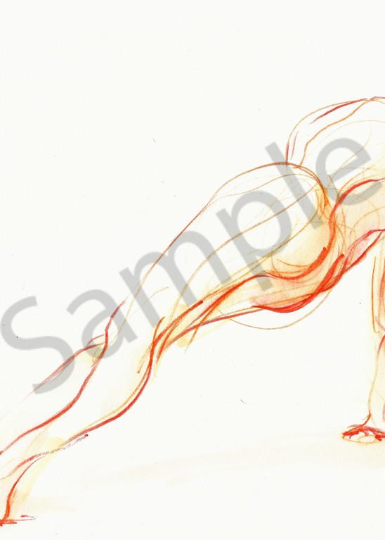 Side Plank Yoga Pose Drawing in Orange