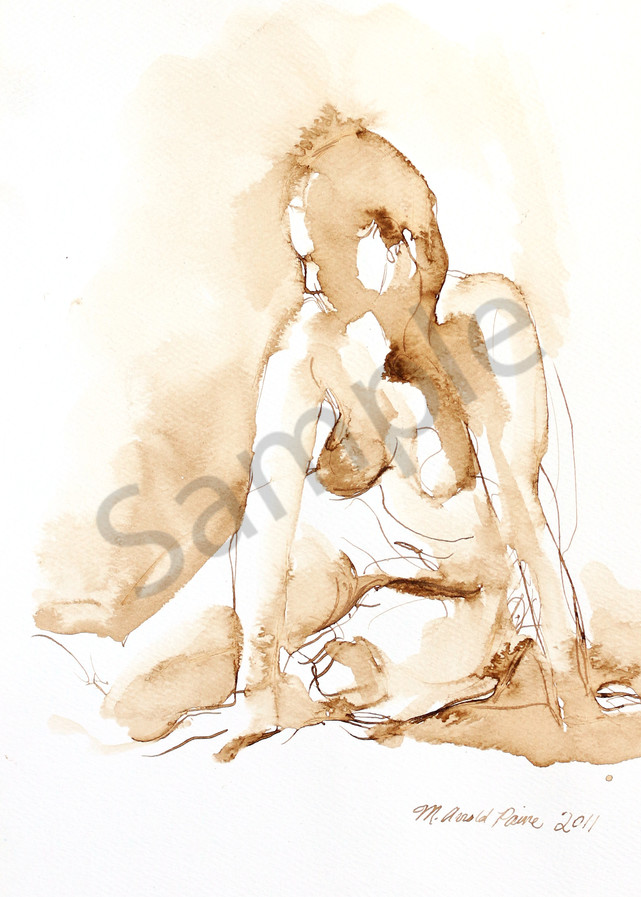 Seated Female Pen and Ink Nude