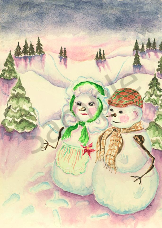 Snowman in the Gloaming print by Judith Spielmacher.
