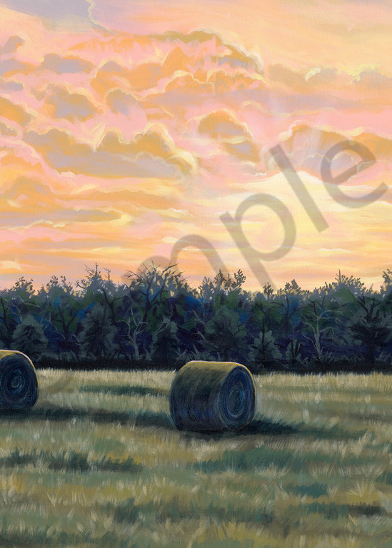 Original painting of sunrise over a Texas pasture for sale as art prints.