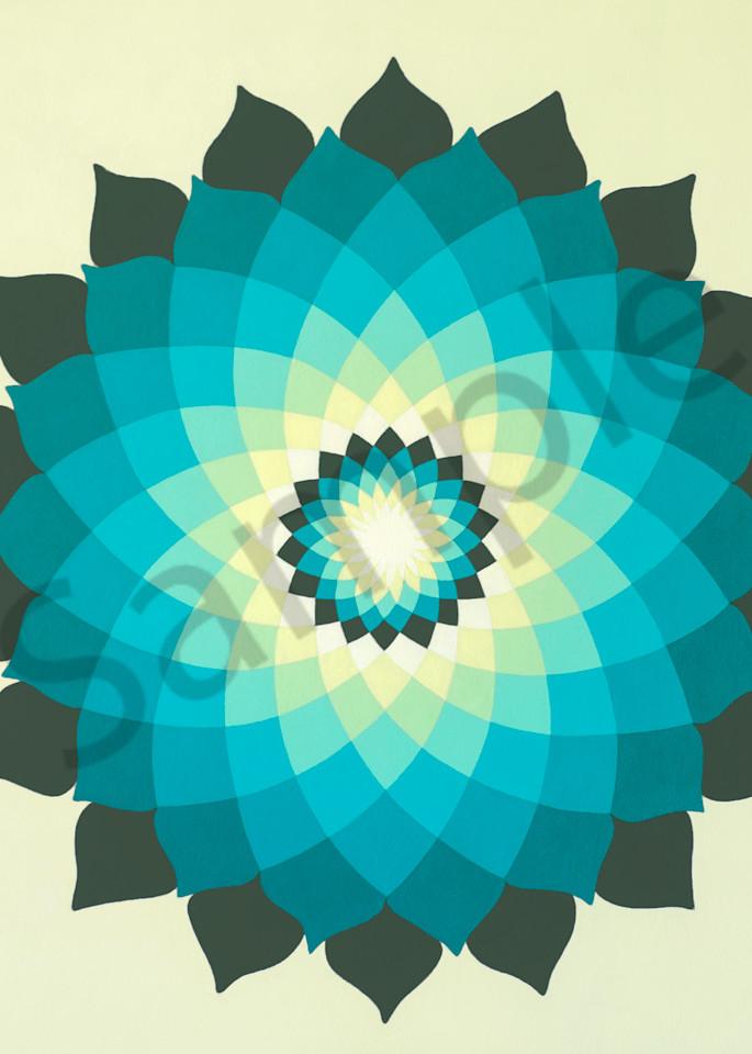 Vintage Turquoise Lotus Mandala Art | FireFlower Art