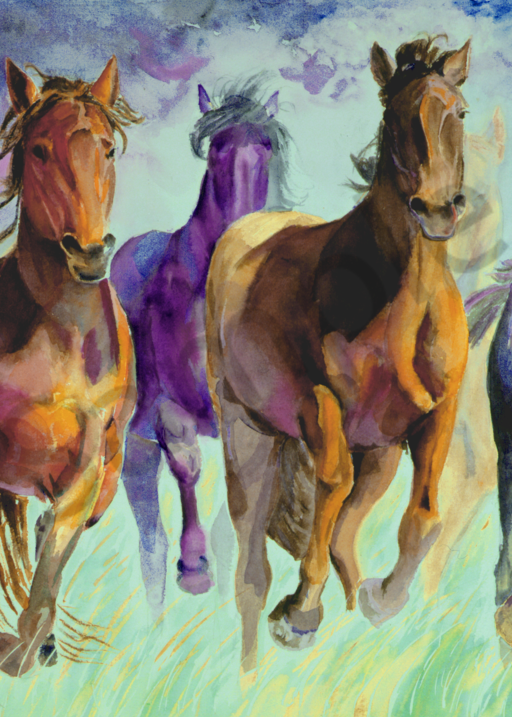 Galloping mustangs watercolor art painted with bright colors - prints by Susan Kraft