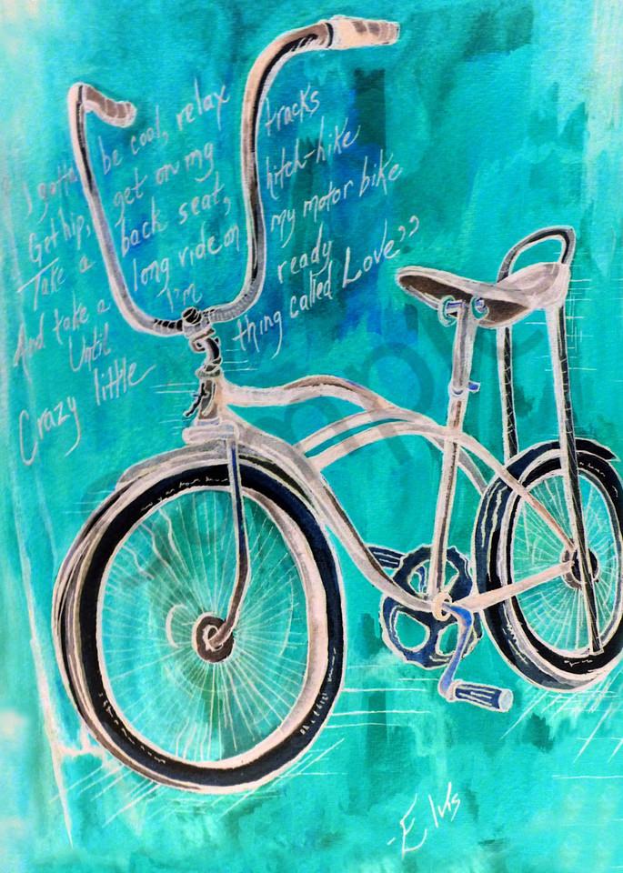 Elvis Blue Bike Art   Art By Dana