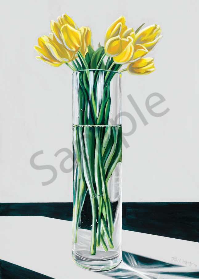 Original painting of yellow tulips in a vase, available as art prints.