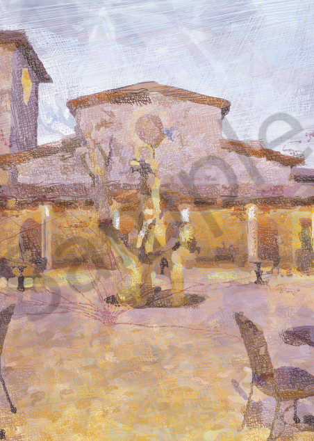 Courtyard at Jacuzzi Canvas Art