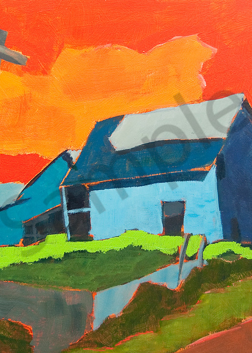 Blue barn red sky
