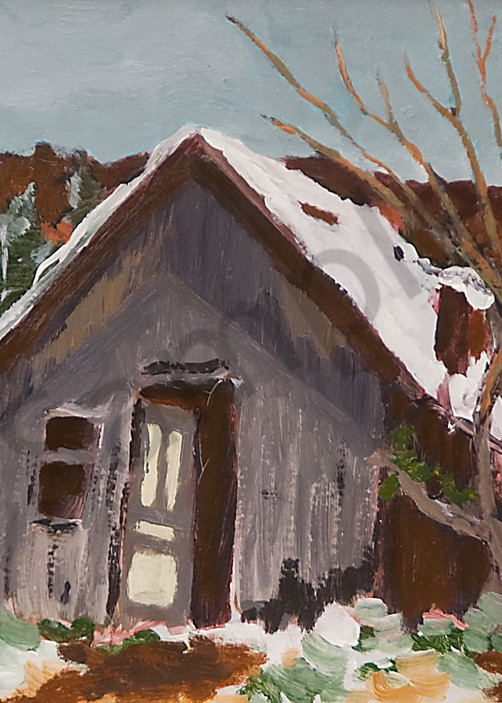 Old Shed In First Snow Art   Keith Thirgood