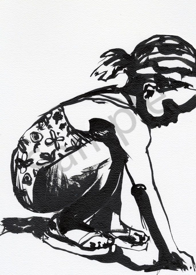 Ink drawing of a Caribbean girl playing with sand at the seaside.